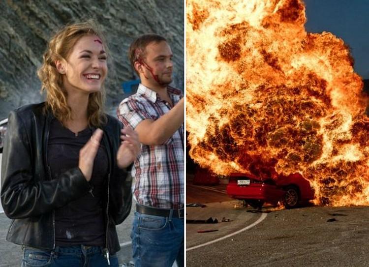 Взрыв машины. каскадеры трюки в кино